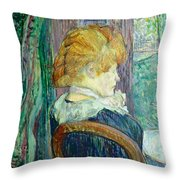 Woman Sitting In A Garden Throw Pillow