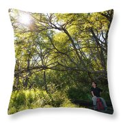 Woman Sitting On Bench - Bright Green Trees Sun Is Shining Throw Pillow