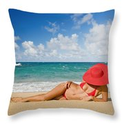 Woman Sitting On The Beach Throw Pillow