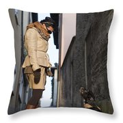 Woman Speak With Her Dog Throw Pillow