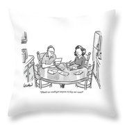 Woman Speaks To Man As They Do Bills At A Table Throw Pillow by Robert Leighton