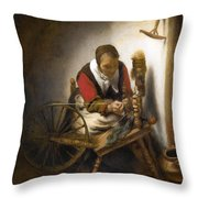 Woman Spinning Throw Pillow