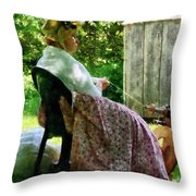 Woman Spinning Wool Throw Pillow