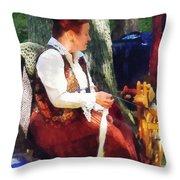 Woman Spinning Yarn At Flea Market Throw Pillow
