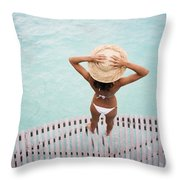 Woman Standing On Dock Throw Pillow