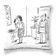 Woman Talks On Phone Throw Pillow