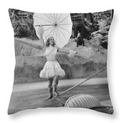 Woman Tightrope Walker Throw Pillow