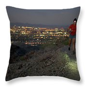 Woman Trail Running In South Mountain Throw Pillow