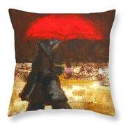Woman Under A Red Umbrella Throw Pillow