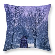 Woman Walking In Snow Throw Pillow by Amanda Elwell