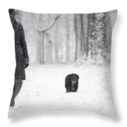 Woman Walking In The Snowy Forest Throw Pillow