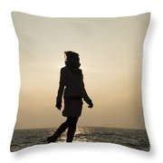 Woman Walking On The Lake Front Throw Pillow