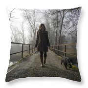 Woman Walking With Her Dog On A Bridge Throw Pillow