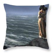 Woman Watching A Ship Sailing Away Throw Pillow