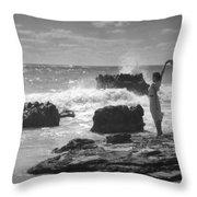 Woman Waving On Shore Throw Pillow