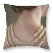 Woman Wearing A Pearl Necklace Throw Pillow