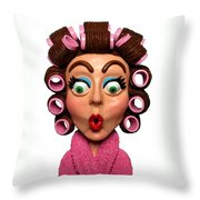 Woman Wearing Curlers Throw Pillow