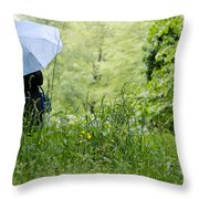 Woman With A Blue Umbrella Throw Pillow