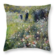 Woman With A Parasol In A Garden, 1875 Throw Pillow
