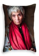 Woman With A Red Scarf Throw Pillow