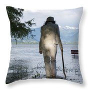 Woman With A Stick Throw Pillow