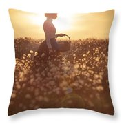 Woman With A Wicker Basket At Sunset Throw Pillow