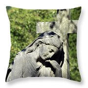 Woman With Cross Cave Hill Cemetery Louisville Kentucky Usa Throw Pillow
