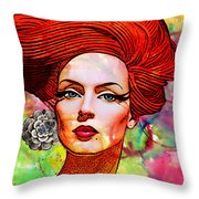 Woman With Earring Throw Pillow by Chuck Staley