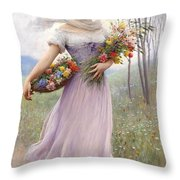 Woman With Flowers Throw Pillow