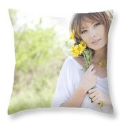 Woman With Flowers Throw Pillow by Brandon Tabiolo