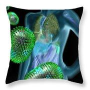 Woman With Flu Viruses Throw Pillow