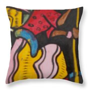 Woman With Head Tie And Bangles On Her Wrist Stirring The Wheat Corn On A Bowl Throw Pillow