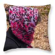 Woman With Headscarf In The Forest - Quirky And Surreal Throw Pillow