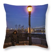 Woman With Her Dogs Throw Pillow