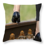 Woman With High Heels Shoes Throw Pillow