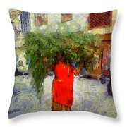 Woman With Ker Leaves India Rajasthan Jaisalmer Throw Pillow
