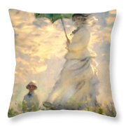 Woman With Parasol Dedication Throw Pillow