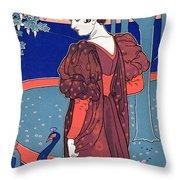 Woman With Peacocks Throw Pillow