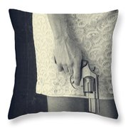 Woman With Revolver Throw Pillow