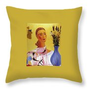 Woman With Shawl Throw Pillow