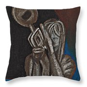 Woman With Trumpet Throw Pillow