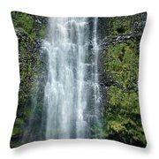 Woman With Umbrella At Wailua Falls Throw Pillow