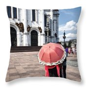 Woman With Umbrella - Moscow - Russia Throw Pillow