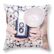 Woman With Vintage Camera Throw Pillow