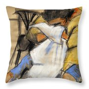 Woman With White Towel - Helene #9 - Figure Series Throw Pillow