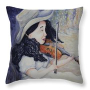 Woman's Autumnal Twilight Serenade Throw Pillow