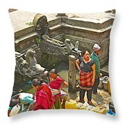Women Get Bagmati River Holy Water From Ornate Fountains In Patan Durbar Square In Lalitpur-nepal  Throw Pillow
