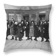 Women In A Bank Throw Pillow