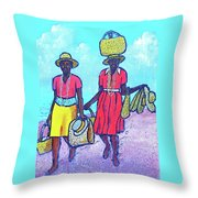 Women On Beach At Grenada Throw Pillow