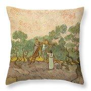 Women Picking Olives Throw Pillow